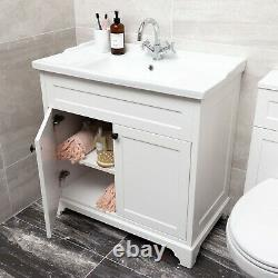 Arabella Traditional Vintage White Vanity Storage Unit with Ceramic Sink 80cm