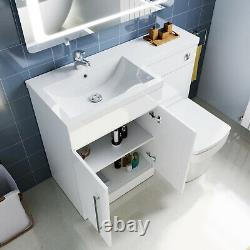 Back to Wall Close Coupled Toilet Concealed Cistern WC Unit Bathroom Vanity Sink