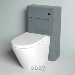 Basin Sink Grey Vanity Cabinet Unit and Back to Wall WC Toilet Suite Torex