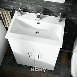 Basin Vanity Unit & Close Coupled WC Toilet Straight Edge Bath Bathroom Suite