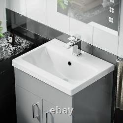 Bathroom 500 mm Ceramic Basin Sink Vanity Light Grey Unit Cabinet Nanuya