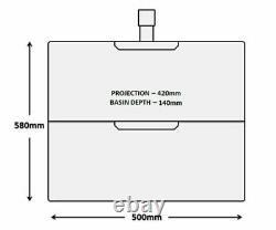 Bathroom 500mm Square Wall Hung Handle-Less Vanity Unit & Basin (SQ500WH)