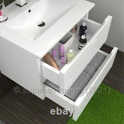 Bathroom 600 Wall Hung Vanity Unit 2 Drawer Cabinet Gloss Atara White