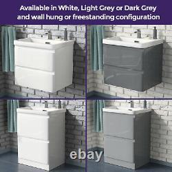 Bathroom 600mm Basin Sink Vanity Furniture Cabinet 2 Drawer Storage Modern Unit