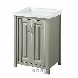 Bathroom 600mm Traditional Storage Vanity Unit Basin Sink Stone Grey