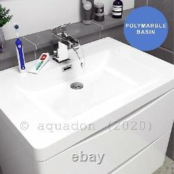 Bathroom 700 Wall Hung Vanity Basin Unit Cabinet Furniture White Gloss Smile