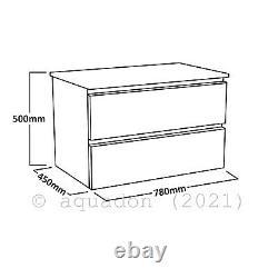 Bathroom 800 Wall Hung Vanity Unit Drawer Cabinet Furniture Gloss White Atara