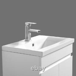 Bathroom Basin Sink Vanity Unit Floor Standing Cabinet Storage 800mm Gloss White