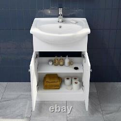 Bathroom Basin Sink Vanity Unit Single Tap Hole Floor Standing 550mm Matte White