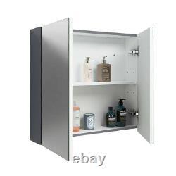 Bathroom Basin Vanity Unit Floor Standing Cabinet Mirror Storage BTW Toilet Grey