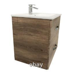 Bathroom Basin Vanity Unit Furniture Wall Hung Storage Cabinet 600mm Grey Oak