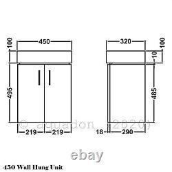 Bathroom Cloakroom 450 Wall Hung Vanity Unit Gloss White