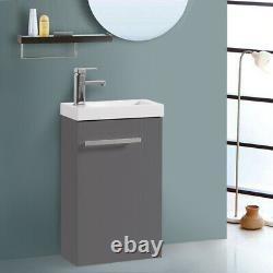 Bathroom Cloakroom Vanity Unit Basin Storage Gloss Grey Floor Standing Cabinet
