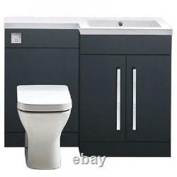 Bathroom Combination Vanity Unit Toilet 1100 Matt Grey Anthracite Right Hand