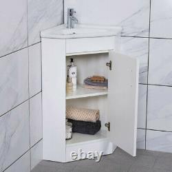 Bathroom Corner Cloakroom Vanity Sink Ceramic Basin Cabinet Storage Unit White