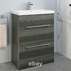 Bathroom Furniture Basin Vanity Toilet Unit Mirror Storage Cabinet Charcoal Grey