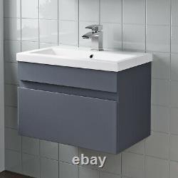 Bathroom Furniture Basin Vanity Toilet WC Unit Tall Cabinet Gloss Grey Modern