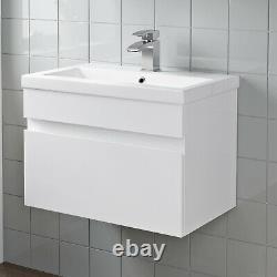 Bathroom Furniture Basin Vanity Toilet WC Unit Tall Cabinet Gloss White Modern