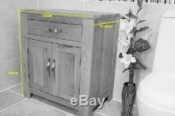 Bathroom Furniture Solid Oak Vanity Cabinet Cupboard Storage Unit 700mm