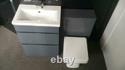 Bathroom Furniture Suite Grey Vanity Unit Cabinet Basin Back To Wall WC Unit