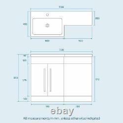 Bathroom Grey Vanity Furniture Basin Back To Wall Toilet Combination Unit
