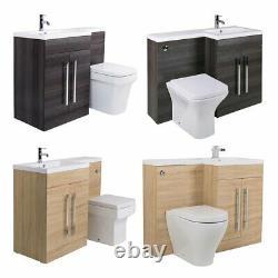 Bathroom LH & RH Combination Toilet, Vanity Unit & Basin White, Oak, Walnut, Grey
