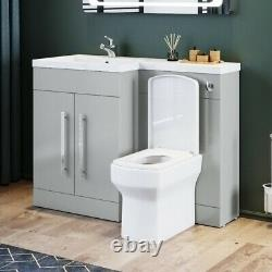 Bathroom Sink Square Toilet Vanity Unit Cabinet Grey Right Hand Basin Storage