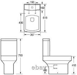 Bathroom Suite Bifold Shower Enclosure Vanity Unit Basin Sink Toilet WC 900mm