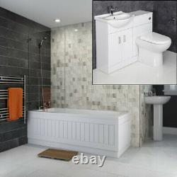 Bathroom Suite Single Ended Bath 1050mm Basin Vanity Unit Toilet Gloss White