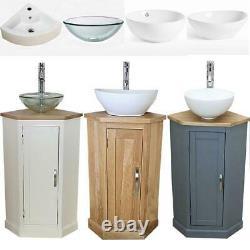 Bathroom Vanity Corner Unit Oak Sink Cabinet Ceramic Basin Tap & Plug Option