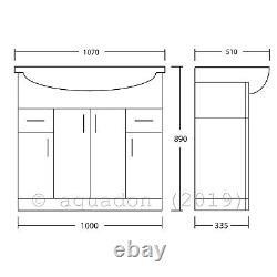 Bathroom Vanity Unit 1050mm Basin Sink Cloakroom Furniture Storage Cabinet