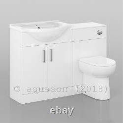 Bathroom Vanity Unit 1150mm Back to Wall WC Toilet 650+500 Sink Basin