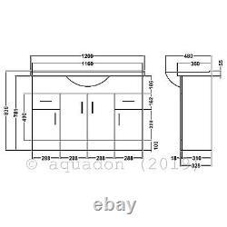 Bathroom Vanity Unit 1200mm Basin Sink Cloakroom Furniture Storage Cabinet