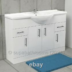 Bathroom Vanity Unit 1200mm Cloakroom Classic Gloss White and Ceramic Basin