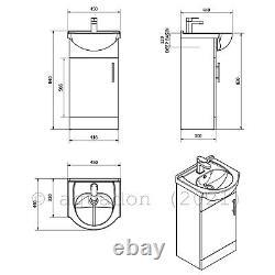 Bathroom Vanity Unit 450mm Basin Sink Cloakroom Furniture Storage Cabinet