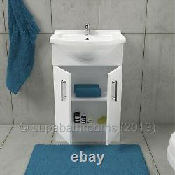 Bathroom Vanity Unit 550mm Cloakroom Classic Gloss White and Ceramic Basin Sink