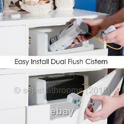 Bathroom Vanity Unit 550mm White Gloss Cloakroom Basin, BTW Unit, WC & Cistern