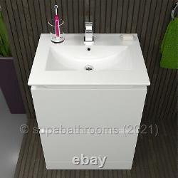 Bathroom Vanity Unit 600 2 Drawer Floor Standing Gloss White Atara
