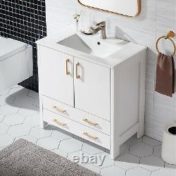 Bathroom Vanity Unit 60mm White Cloakroom Basin Sink Door Drawer Storage Cabinet