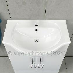 Bathroom Vanity Unit 650mm Basin Sink & Single Lever Mono Basin Tap & Waste