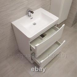 Bathroom Vanity Unit 700 2 Drawer Cabinet Basin Storage White Gloss Smile