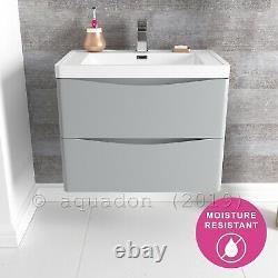 Bathroom Vanity Unit 700 Wall Hung Grey 2 Drawer Cabinet Furniture Smile