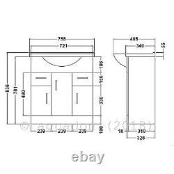 Bathroom Vanity Unit 750mm Basin Sink Cloakroom Furniture Storage Cabinet