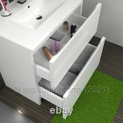 Bathroom Vanity Unit 800 2 Drawer Floor Standing Cabinet Gloss Atara White