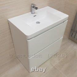 Bathroom Vanity Unit 800 Floor Standing Cabinet Furniture White Gloss Aria