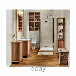 Bathroom Vanity Unit 800mm 80cm Floor Standing Sink Cabinet & Basin Classic Oak