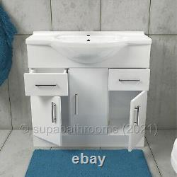 Bathroom Vanity Unit 850mm Cloakroom Classic Gloss White and Ceramic Basin