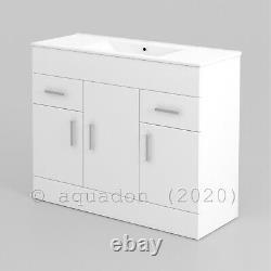Bathroom Vanity Unit & Basin 1000mm Turin Gloss White Soft Close Doors & Drawers