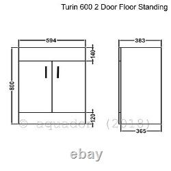 Bathroom Vanity Unit & Basin 600mm Turin Gloss White Soft Close 2 Door