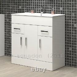 Bathroom Vanity Unit & Basin 750mm Turin Gloss White Soft Close Doors & Drawers